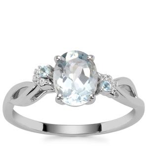 Aquamarine, Marambaia London Blue Topaz Ring with White Zircon in 9K White Gold 1.15cts