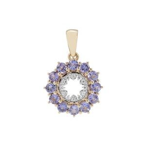 AA Tanzanite Pendant with White Zircon in 9K Gold 1.28cts
