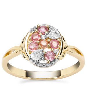 Padparadscha Sapphire Ring with White Zircon in 9K Gold 0.67ct