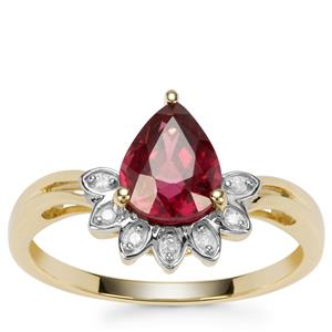 Savanna Pink Garnet Ring with Diamond in 9K Gold 1.41cts