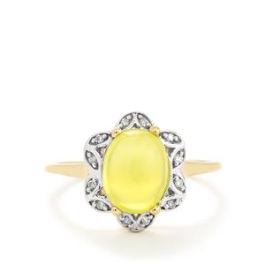 Golden Prehnite & Diamond 10K Gold Ring ATGW 2.56cts