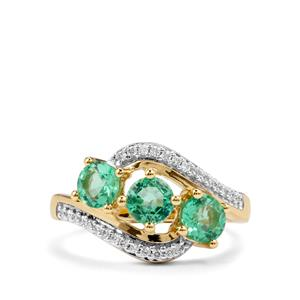 Certified Ethiopian Emerald Ring with Diamond in 18K Gold 1.28cts