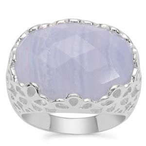 Blue Lace Agate Ring in Sterling Silver 12.96cts