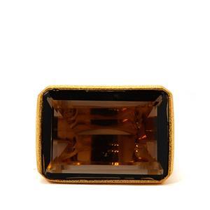 Smokey Quartz Gold Plated 925 Sarah Bennett Ring 33.10cts