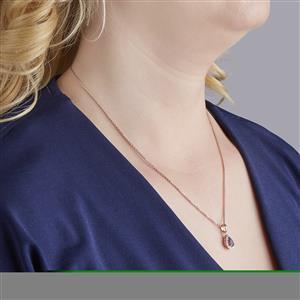 Amethyst & Diamond Rose Gold Vermeil Pendant Necklace ATGW 0.65cts