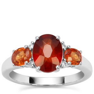 Hessonite, Mandarin Garnet Ring with White Zircon in Sterling Silver 3.41cts