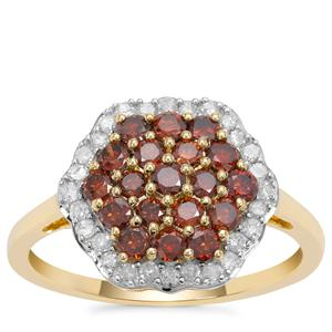 Red Diamond Ring with White Diamond in 9K Gold 1cts