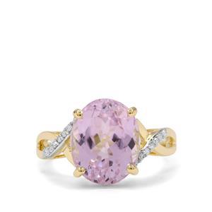 Minas Gerais Kunzite & Diamond 9K Gold Ring ATGW 5.85cts