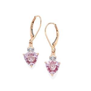 Lehrer KaleidosCut Rose De France Amethyst, Malagasy Ruby & Diamond 10K Rose Gold Earrings ATGW 2.90cts (F)
