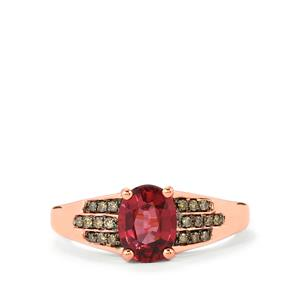 Malawi Garnet Ring with Champagne Diamond in 14K Rose Gold 1.86cts