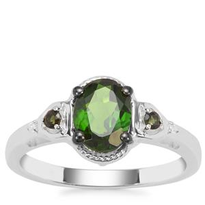 Chrome Diopside Ring with Green Tourmaline and White Zircon in Sterling Silver 1.26cts