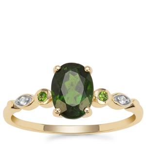 Chrome Diopside Ring with White Zircon in 9K Gold 1.35cts