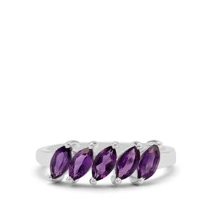 Zambian Amethyst Ring in Sterling Silver 1.05cts