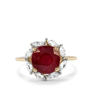 Malagasy Ruby & White Zircon 9K Gold Ring ATGW 4.82cts (F)