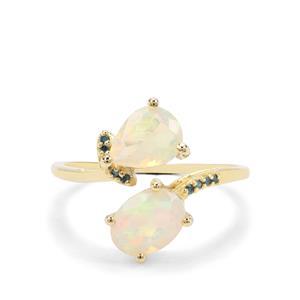Ethiopian Opal & Blue Diamond 9K Gold Ring ATGW 1.38cts