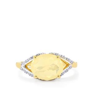 Ethiopian Opal & Diamond 9K Gold Ring ATGW 1.50cts