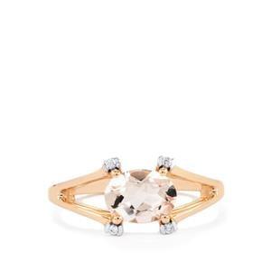 Alto Ligonha Morganite & White Zircon 9K Rose Gold Ring ATGW 1.14cts