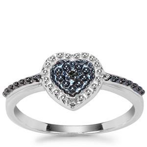'The Blue Hope' Blue & White Diamond Sterling Silver Heart Ring