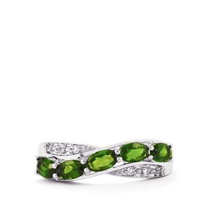 Chrome Diopside & White Topaz Sterling Silver Ring ATGW 1.29cts