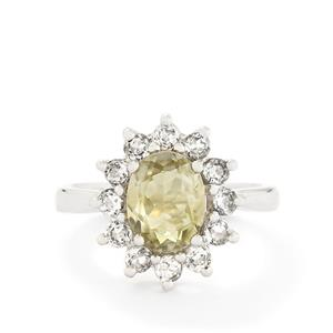 Kerala Sillimanite & White Topaz Sterling Silver Ring ATGW 2.54cts