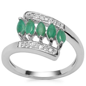 Itabira Emerald Ring with Diamond in Sterling Silver 0.67ct