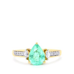 Paraiba Tourmaline Ring with Diamond in 18k Gold 1.60cts