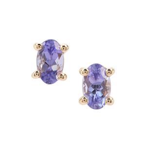 AA Tanzanite Earrings in 9K Gold 0.48ct