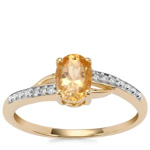Ouro Preto Imperial Topaz Ring with Diamond in 9K Gold 0.89ct