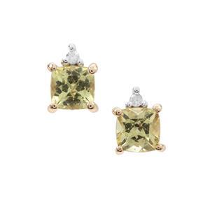 Mali Garnet Earrings with Diamond in 9K Gold 0.75cts