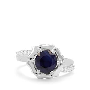 Madagascan Blue Sapphire & White Zircon Sterling Silver Ring ATGW 2.60cts
