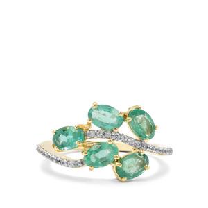 Zambian Emerald & White Zircon 9K Gold Ring ATGW 1.86cts