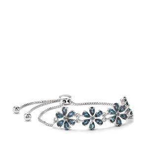 5.36ct Marambaia London Blue Topaz Sterling Silver Slider Bracelet