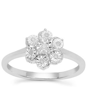 Diamond Ring in Sterling Silver 0.05ct