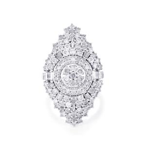 4.05ct Diamond Sterling Silver Ring