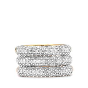 1.50ct Diamond Sterling Silver Set of 3 Ring