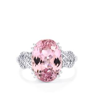 Mawi Kunzite Ring with Diamond in 18K White Gold 8.45cts