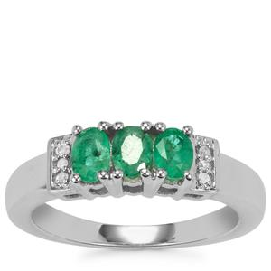 Luhlaza Emerald Ring with Diamond in Sterling Silver 0.75cts