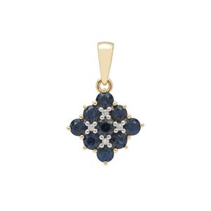 Australian Blue Sapphire Pendant with Diamond in 9K Gold 1.20cts