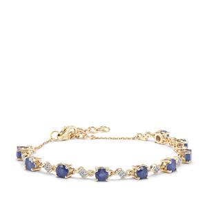 Burmese Blue Sapphire Bracelet with White Zircon in 9K Gold 3.85cts