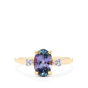 Bi Color Tanzanite Ring with Diamond in 10k Gold 1.68cts