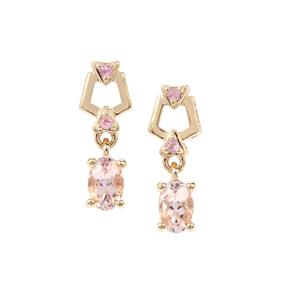 Nigerian Morganite Earrings with Pink Sapphire in 9K Gold 0.83ct