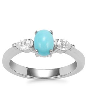 Sleeping Beauty Turquoise Ring with White Zircon in Sterling Silver 1.06cts