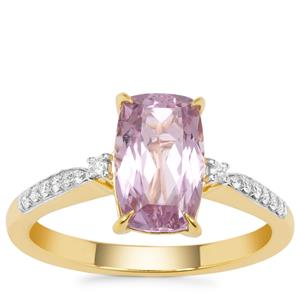 Nuristan Kunzite Ring with Diamond in 18K Gold 3.08cts