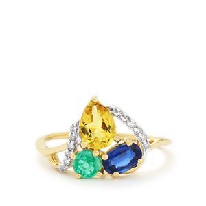Harlequin Gems & Diamond 10K Gold Ring ATGW 1.59cts