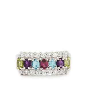 Multi-Colour Gemstones Sterling Silver Ring ATGW 2.24cts