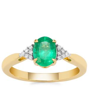 Ethiopian Emerald Ring with Diamond in 18K Gold 1.08cts