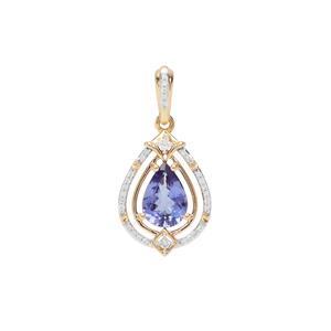 AAA Tanzanite Pendant with Diamond in 18K Gold 1.69cts