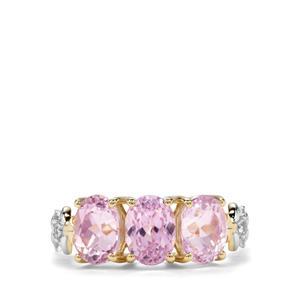 Kolum Kunzite & Ceylon White Sapphire 9K Gold Ring ATGW 3.92cts