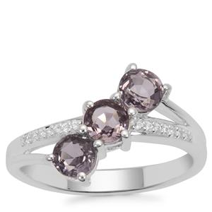 Burmese Spinel Ring with White Zircon in Sterling Silver 1.54cts