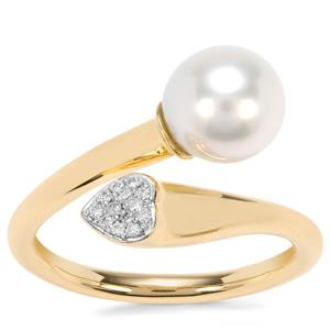 South Sea Cultured Pearl Ring with Diamond in 18K Gold (8mm x 7mm)